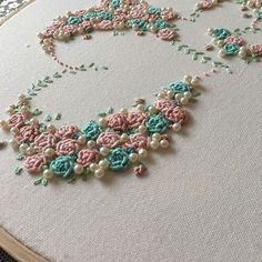 Wonderful Ribbon Embroidery Flowers by Hand Ideas. Enchanting Ribbon Embroidery Flowers by Hand Ideas. Embroidery Hearts, Embroidery Neck Designs, Embroidery On Clothes, Embroidery Flowers Pattern, Embroidery Works, Rose Embroidery, Silk Ribbon Embroidery, Embroidery Kits, Embroidery Supplies