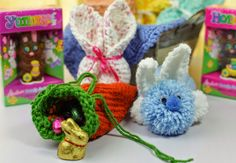 Loom knit bunny and carrot candy holders. Perfect quick gift idea for the kids this easter. Free Patterns!