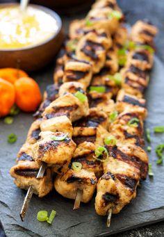 Jerk Chicken Skewers with Mango Habanero Sauce recipe