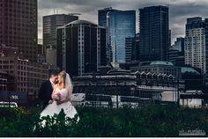 vancouver city wedding photos at Crab Park #vancouver #city #skyline #wedding #gastown