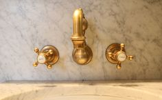 Unlacquered Brass ~ Wall Mount Faucet ~ Cross Handles ~ The Marlton Hotel