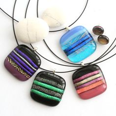 fused glass | Home > Glass Jewellery > Fused Glass Square Pendant Necklace