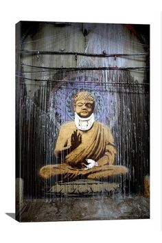 Street Art: Injured Buddha 12in x 18in Canvas Print