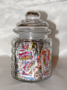 Our Guessing Jar!  In an attempt to give every student a chance to shop in the box tops store- each month the students get to guess how many expired box tops are in the jar.  Each student gets one guess, then if they shop in the store they get another one.  The closest with out going over wins 100 box tops to spend in the store!  It's done each month and it's a huge hit so far!