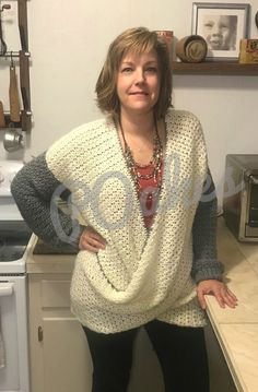 Wrap Baggy Sweater - free crochet pattern by Pat Oakes. Constructed in rectangles and lemon peel stitch. Cardigan Au Crochet, Gilet Crochet, Black Crochet Dress, Crochet Jacket, Knit Crochet, Ravelry Crochet, Poncho Sweater, Crochet Patron, Cardigan Pattern