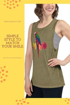 Simple style to match your style! Our new beautiful tank top is available for purchase  #womentanktop #womentop #topsandtees #womenshirt #womentee #gymtop #fitnesstop #tanktops #tanktopoutfit #tanktop #fashiontop #workouttop #birdtanktop #birdshirt #yogatop #birdtshirt #printedtop #runningtop #hikingtop Gym Tops, Yoga Tops, Bird Shirt, Tank Top Outfits, Muscle Tank Tops, Summer Tank Tops, Workout Tops, Simple Style, Parrot