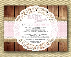 Rustic Baby Shower  Baby Girl Burlap Lace by SunshinePrintables, $15.00
