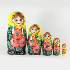 """New arrival to the """"Matryoshka"""" category https://russian-crafts.com/nesting-dolls.html. St... http://russian-crafts.com/nesting-dolls/babushka-dolls/stacking-doll-yellow-with-poppies.html"""