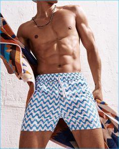 Travor Signorino pictured in Frescobol Carioca patterned swim shorts.