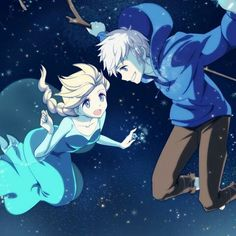 Rise of the Guardians' Jack Frost and Frozen's Elsa /jack.for all you Anime Lovers Elsa Anime, Anime Disney, Disney Fan Art, Jack Frost Anime, Elsa Y Jack Frost, Jelsa, Disney And More, Disney Love, Elsa Frozen