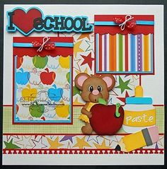 ELITE4U Lisa Premade Scrapbook Page Paper Piecing for Album Girl School Mouse | eBay