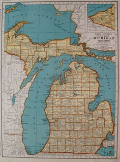 Rare size michigan map gallery wall art map of by plaindealing 1939 vintage michigan map of michigan state map antique 1930s map travel gallery wall art gift for map collector birthday wedding 6933 gumiabroncs Image collections