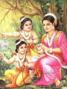 Lav and kush. ....sons of god Rama. ..with sita devi.....Their mother...