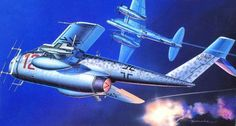 Messerschmitt Me P.1101 German single-jet fighter project [Jägernotprogramm], depicted here in a hipothetical night fighter version by Masao Satake