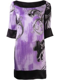 Lavender silk baroque print tunic from Versace Collection featuring a boat neck, short sleeves, a shift silhouette and a short length.