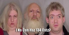 Sad story, but my god, the mugshot of this trio charged with cat hoarding is priceless.