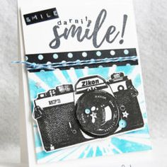 Awesome camera stamp with gorgeous words to add to your scrapbook layouts, cards and mixed media projects. Capture The Moment Quotes, Camera Cards, 2017 Inspiration, Unity Stamps, Scrapbook Cards, Scrapbook Layouts, Strobing, Cool Cards, Paper Design