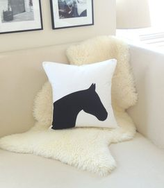 horse pillow cover equestrian chic white by vixengoods on etsy - Horses Head Pillow