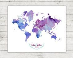 Wedding Guest Book World Map Alternative Digital File Water Color World Map, Wedding Guest Book, Projects To Try, Watercolor, Alternative, Handmade Gifts, Budget, Digital, Frames