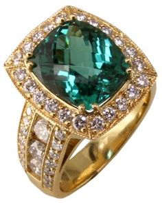 18k Indicolite Tourmaline and Diamond Ring.