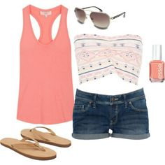 cute summer outfit! i love the bando