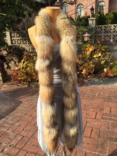 Natural Coyote Fur Scarf Boa Wrap 86 inches Made in The USA New Item | eBay