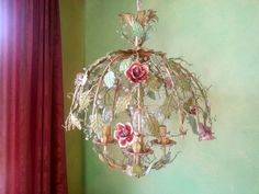 Tole Chandelier, Italian, Woodland Dewdrop with Porcelain Roses by queendecor on Etsy https://www.etsy.com/listing/198610539/tole-chandelier-italian-woodland-dewdrop