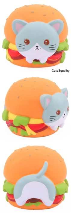 Kawaii cat in a burger squishy!