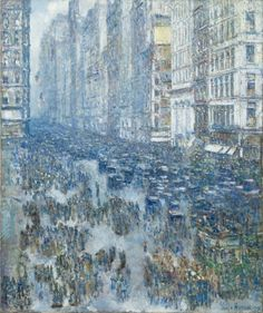 """Fifth Avenue "" by Childe Hassam. 1919, oil on canvas. In the collection of The Cleveland (OH) Museum of Art. Childe Hassam selected a high viewpoint for this depiction of modern, urban life. The distance gained allowed him to depict the people in the street not as individuals, but as masses of blurred, moving color. Quick, broken brushstrokes add energy and vitality to the scene. ""Humanity in motion is a continual study for me,"" Hassam wrote."