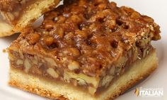 The Best Ever Pecan Pie Bars are so good people offer to pay me for them. A fabulous recipe with a caramelized pecan pie set atop a shortbread crust is the absolute perfect nut bar. My family requests more of this dessert than any other every year. Pecan Recipes, Baking Recipes, Sweet Recipes, Cookie Recipes, Keto Recipes, Just Desserts, Delicious Desserts, Yummy Food, Holiday Baking