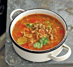 מרק 3 סוגי עדשים ועגבניות