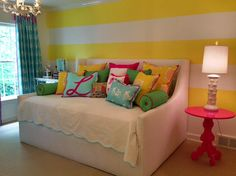What a precious tween girl room from Ragland Hill Fabric Line In Memphis, TN--love this for Jordan Teen Girl Rooms, Girls Bedroom, Kids Decor, Home Decor, Striped Walls, Craft Ideas, Memphis, Tween, Organizing