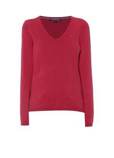 Tommy Hilfiger New Ivy pullover met V-hals roze • de Bijenkorf