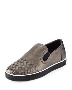 Intrecciato-Toe Slip-On Sneaker, Brunito