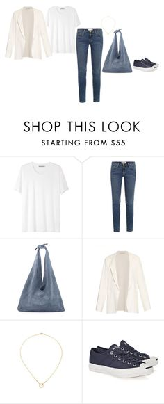 """""""Untitled #215"""" by inlateautumn ❤ liked on Polyvore featuring Acne Studios, Frame Denim, The Row, Cédric Charlier, Dogeared and Converse"""