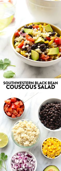 Make this Southwestern Black Bean Couscous Salad in under 20 minutes. It's packed with pulses, veggies, and healthy fats!