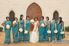 indian wedding matching blue bridesmaid sarees