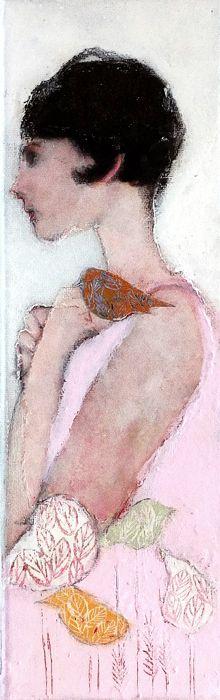 Veronique Paquereau, Lady d' Or 1, Gemengde techniek op doek, 30x10 cm, €.195,-