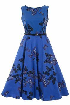Lady V London Klassieke jurk in koningsblauw met vlinders
