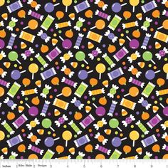 Riley Blake - Halloween Parade Candy Black - cotton fabric http://www.plushaddict.co.uk/riley-blake-halloween-parade-candy-black.html