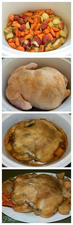 How to cook a whole chicken in the crockpot. I'd probably use sweet potatoes and yams instead of potatoes and carrots. Lots of lemon thyme, too.