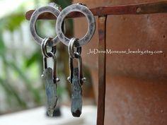 Rustic Kyonite pinned earrings handmade in sterling silver $50. by JoDeneMoneuseJewelry