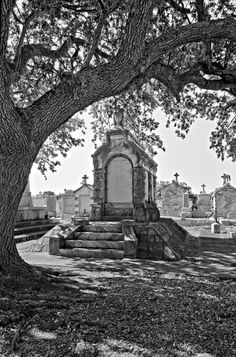 Metairie Cemetery Monchrome Print by Steve Harrington.  All prints are professionally printed, packaged, and shipped within 3 - 4 business days. Choose from multiple sizes and hundreds of frame and mat options.