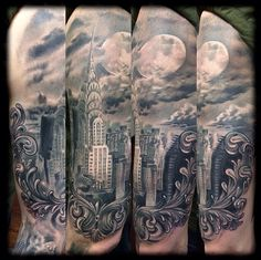 The Chrysler Building. Tattoo by Neil Nelson. #inked #inkedmag #city #nyc #filigree #amazing #skyline