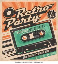 Retro party poster design. Disco music event at night club, vintage invitation template.