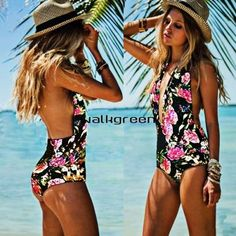 Women One Piece Swimsuit Push Up Padded Bikini Monokini Swimwear Beachwear Wn