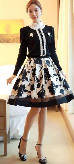 StyleOnme_Floral Printed Full Skirt #floral #flowery #printing #fullskirt #skirt