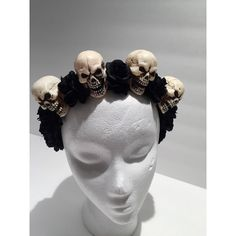 Day of the Dead-Skull and Flower Headband Flower Skull Headpiece-Black... ($38) ❤ liked on Polyvore featuring accessories, hair accessories, black, flower headbands, hair band headband, head wrap headbands, headband hair accessories and flower headwrap