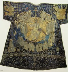 During the Palaiologan Renaissance [1260 – 1453], the highest examples of Byzantine embroidery arts were created. A small number of great epitaphios have survived from this period. One of the most remarkable is the 14th century Epitaphios of Thessaloniki kept in the Museum of Byzantine Culture in Thessaloniki. It is very large, 2m x 72 cm, and consists of three parts. Christ's body flanked by His grieving mother, Mary Magdalene and angels, forms the central piece. .