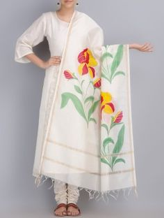 Cream Multicolor Hand Painted Chanderi Dupatta With Zari Boder